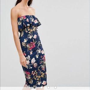 ASOS tall bandeau floral midi dress. Worn once.